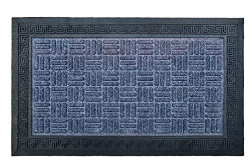Jambo Mats Durable Rubber Door Mat for Front Door Entrance Waterproof Rug Dirt Trapper All Weather Non Slip Low Profile Outside-Garage-Patio-Feeding Mat for Dog-Cat 18 x 30 (Grey)