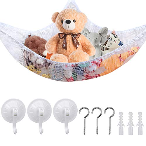 Chstarina Toy Hammock Toys Holder Net Large Corner Toy Storage Hammock Net Organiser with 3 Strong Hook Metal Hook for Stuffed Animals Toys Kids Bedroom White 150 * 100 * 100 cm