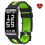 Foto Smart tracker sportivo e per allenamenti, impermeabili IP67, con cardiofrequenzimetro, e controllo della pressione cardiaca, contapassi, controllo del sonno, calorie bruciate, per Android e iOS, Green