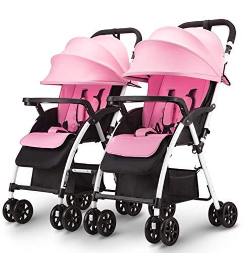TY-Baby trolley Mmm @ Chariot de bébé détachable jumeau Poussette Peut s'asseoir et Se Coucher léger Double Chariot Pliable Chariot ( Color : Rose )
