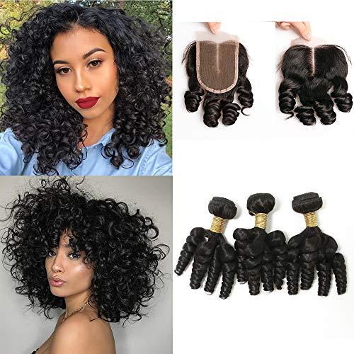 BLISSHAIR 3 Bündel mit Lace Closure, 9A Echthaar Haarverlängerung Funmi Curly Brasilianisches Virgin Remy Hair(10 10 10+10)