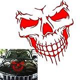 Car Exterior Decoration - Xotic Tech Auto Front Hood Vinyl Graphic Sticker - Truck Trailer Boat Door Window Decal - 1pcs 22' Red Skull Shape