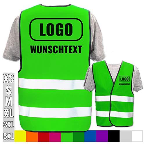 Hochwertige Warnweste mit Leuchtstreifen * Bedruckt mit Name Text Bild Logo Firma * personalisiertes Design selbst gestalten, Farbe Warnweste:Neon Grün (XL/XXL), Druckposition:Rücken + Linke Brust
