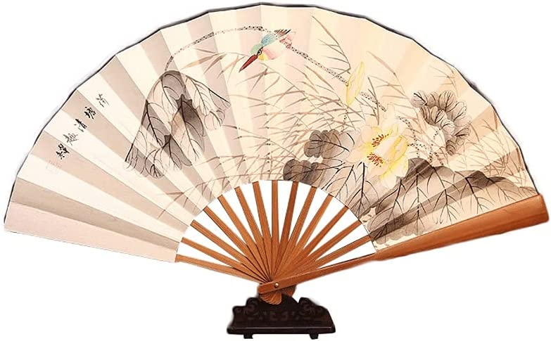 HSAN Sale SALE% OFF Finally resale start Folding Fan Hand-Painted Paper Lotus Hand Rice