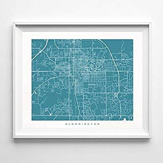 Bloomington Indiana Street Road Map Home Decor Poster Urban City Hometown Wall Art Print - 70 Color Options - Unframed