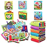 Baby Soft Cloth Books First Year Touch and Feel Set, Baby Bath Toys Infants Crinkly Books Early Learning...