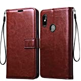 Frazil Vintage Flip Cover Case for Motorola Moto One Power | Premium Leather | Inner TPU | Foldable Stand | Wallet Card Slots - Walnut Brown