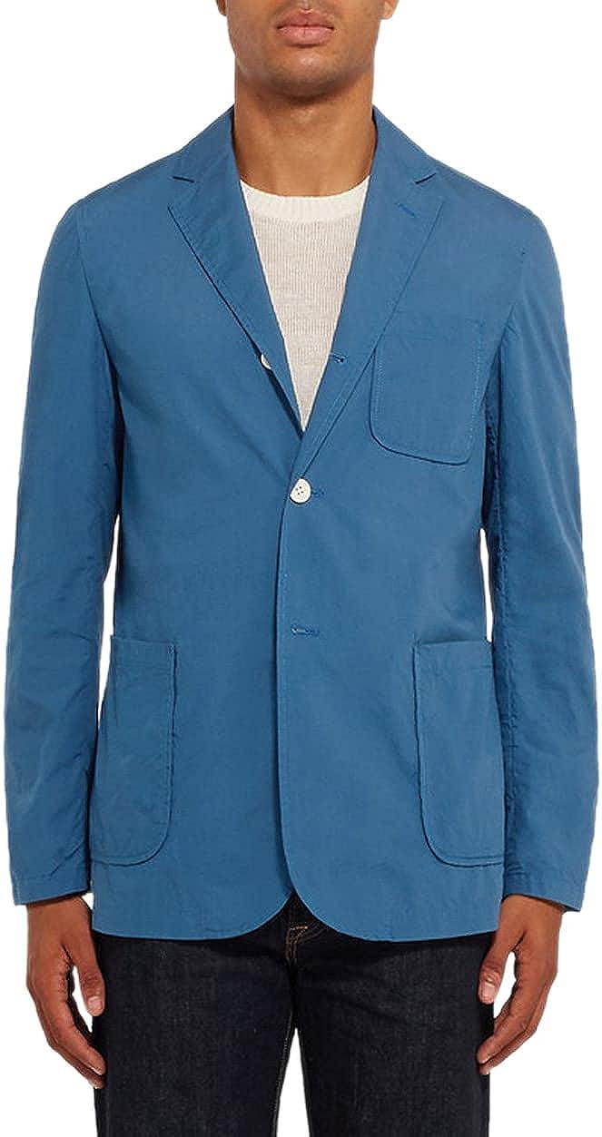 Beams Plus Mens Slim Fit Unstructured Cotton Blazer Large Blue