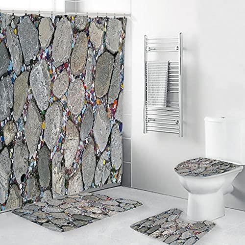 ZDDWLDL 3D Gedruckter Duschvorhang Wasserdicht Antibakterielles Duschvorhang Gesetzt Polyester rutschfest Badematte Waschmaschinenfest, Graubraune Steinstufen(180x180 cm)