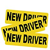 3pcs New Driver Vehicle Car Bumper Sticker Decal Safety Sign 9'x3' Black Block Lettering on Neon Yellow Background One for Each Side and The Rear