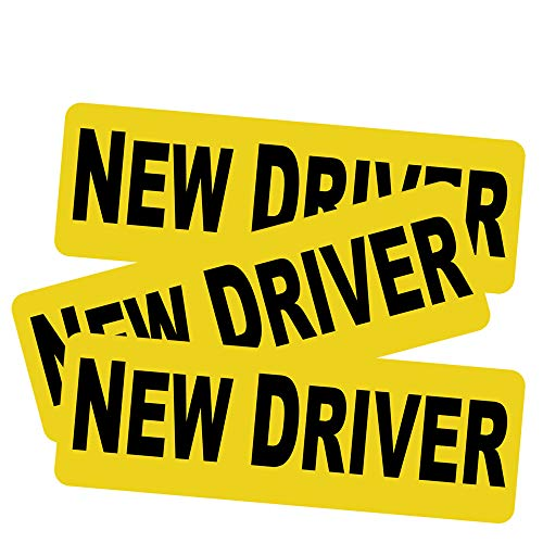 "3pcs New Driver Vehicle Car Bumper Sticker Decal Safety Sign 9""x3"" Black Block Lettering on Neon Yellow Background One for Each Side and The Rear"