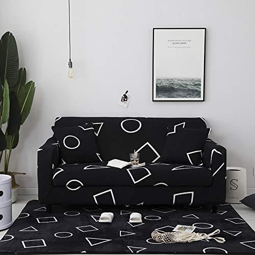 WUCHONGSHUAI Schonbezug Sofahusse,Universal Stretch Sofa Abdeckung Geometrische Druck Elastische Polyester Sofa Handtuch 1/2/3/4 Sitzer Slipcover Für Wohnzimmer Möbel Protektor, 2, Sitzer 145,185Cm