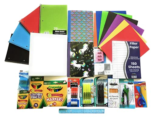 Over 50 Count School Supply Bundle For Elementary 3rd 4th 5th Grade Students - Binder, Pens, Pencils, Crayola Markers-Crayons, Folders, Note Books, Scissors, Erasers, Glue +More (Wide Ruled #2)