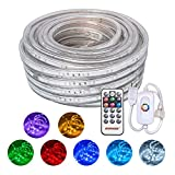 SURNIE Led Rope Lights, 50ft Waterproof 110V RGB Strip Light, Color Changing Rope Lighting with Remote Control, 8 Colors and Multiple Modes, for Outdoor Indoor Party Holiday Home