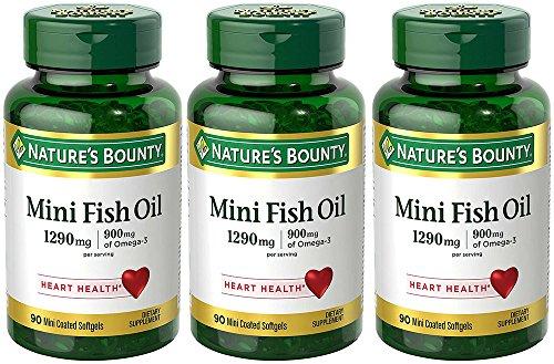 Fish Oil 1290 mg, Mini Odorless Softgels, 3 Bottles (90 Count)