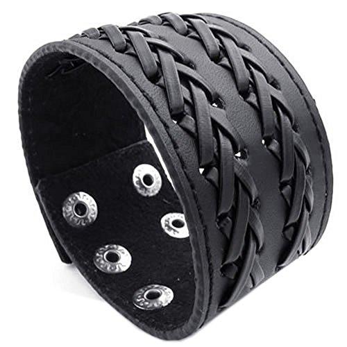 KONOV Schmuck Herren Damen Armband, Breit Druckknopf Armreif, Passend für 18-22cm, Leder Legierung, Schwarz