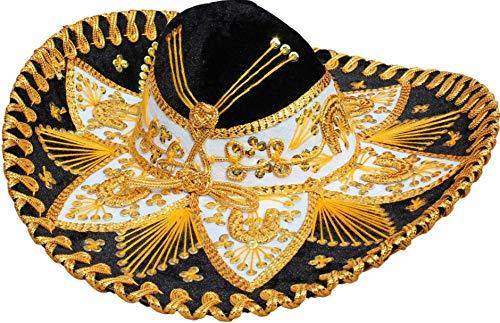 Auténtico sombrero de mariachi estilo flores, sombrero mexicano, hecho en México (elige tamaño y color)