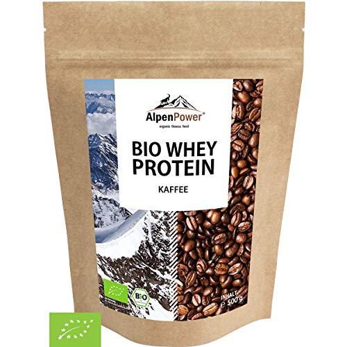 AlpenPower BIO WHEY Protein Kaffee 500g I Ohne Zusatzstoffe I 100% natürliche Zutaten I Bio-Milch aus Bayern und Österreich I Hochwertiges Eiweißpulver