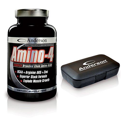 Anderson Amino-4 aminoacidi ramificati con Arginina AKG (350 cpr) BCAA+ Omaggio Porta compresse Leucina - Isoleucina - Valina