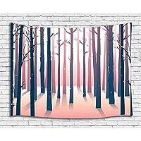 FJTP壁タペストリーの森冬の雪に覆われた木の森ファッショナブルなタペストリー壁ハニング大学寮の家の装飾