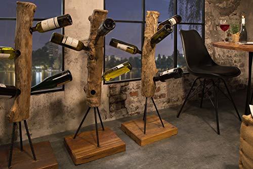 Baumstamm Flaschenhalter Teak Holz massiv 103 cm hoch Unikat für 6 Flaschen Weinregal