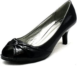 Negro Peep Toe Patente Gatito Zapatos de la Corte del talón
