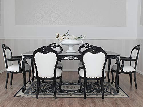 Simone Guarracino Table Salle à Manger Merton Style Baroque Dark rectangulaire Noir laqué et Feuille Argent