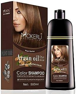 MOKERU ARGAN OIL DYE HAIR -COLOR SHAMPOO-500ML DARK BROWN (02)