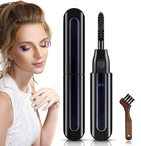 Uppvärmd ögonfransböjare, elektrisk ögonfransböjare USB-laddningsbar ögonfransborste med LED-display 3 temperaturväxlar 10S snabb uppvärmning för flickor kvinnor gåva