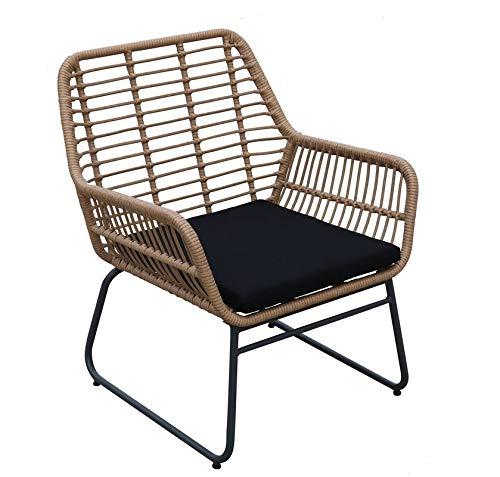 animal-design Gartenstuhl Sunny Loungesessel Polyrattan Balkon Terrasse inkl. Sitzkissen Gartenmöbel, Farbe:beige