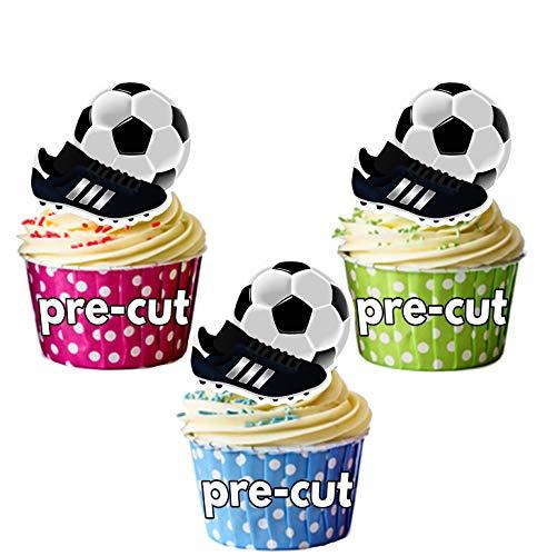 Decoraciones comestibles para cupcakes, diseño de fútbol y bota (12 unidades)