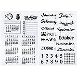 Outus 2 Hojas Sello Transparente de Silicona Sello de Calendario Sello de Días y Meses para Decoración de Diario DIY Scrapbooking y �lbum de Fotos