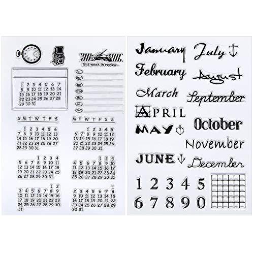 Outus 2 Hojas Sello Transparente de Silicona Sello de Calendario Sello de Días y Meses para Decoración de Diario DIY Scrapbooking y Álbum de Fotos