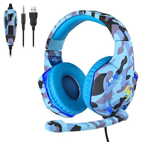 YOREN Stereo-Gaming-Kopfhörer 3. 5-Mm-Gaming-Headset mit Geräuschunterdrückung über Mikrofon Und LED-Leuchten für PS4-Controller Xbox One PC Laptop Mac Tablet - Weiß/Blau