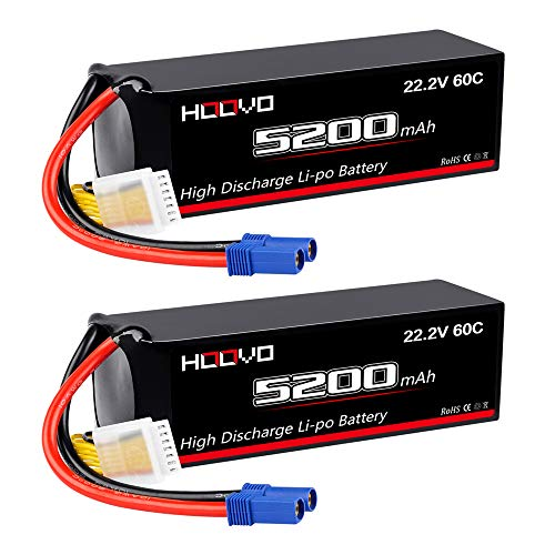 HOOVO 22.2V 60C 5200mAh 6S LiPo Battery with EC5 Plug for RC Helicoptor Airplane Quadcopter UAV Drone FPV Boat (2 Pack)