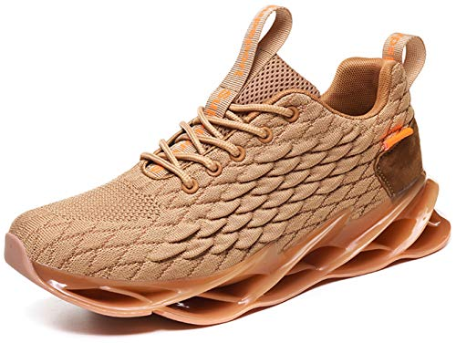Ezkrwxn Men Brown Sneakers mesh Breathable Comfort Sport Athletic Walking Shoes Man Gym Jogging Fashion Runner Trainers Size 10 (1916-Brown-44)