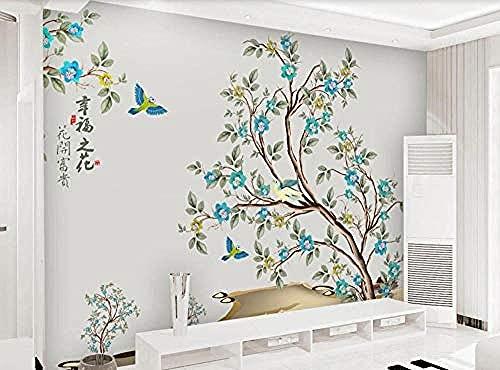 Papel pintado de hojas de pájaros y flores pintadas a mano de estilo chino para el mural de decoración de pared de sala de Pared Pintado Papel tapiz 3D dormitorio de estar sala sofá mural-430cm×300cm