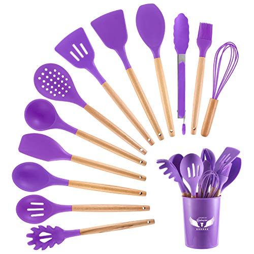 PDJW 13PCS Silicone Cooking Kitchen Utensils Set with Wooden Handles and Holder, BPA Free Silicone Spatula Spoon Set Nonstick Silicone Kitchen Gadgets, Best Cooking Gift for Men Women (Purple)