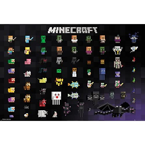 GB eye Ltd - Maxi poster Minecraft Pixel Sprites, 61,91,5 cm, in legno, vario, 65 x 3,5 x 3,5 cm