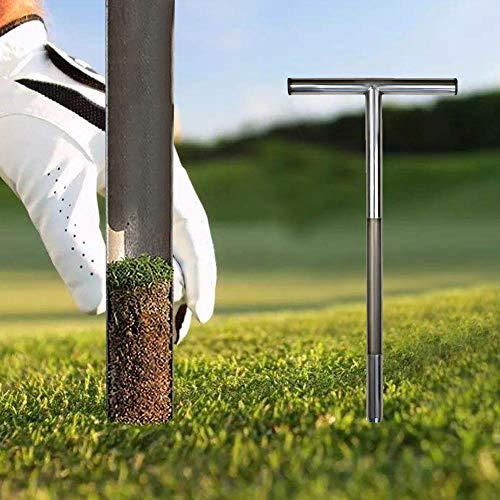 luckything Bodenproben-Sonde, Edelstahl Röhrenförmiger T-Griff Golf-Feld Sampling Erde Turf Rasenpflege Werkzeug, 304 Edelstahl Bodenprobenehmer Energiesparende Entwurf Umweltschutz Rasenpflege