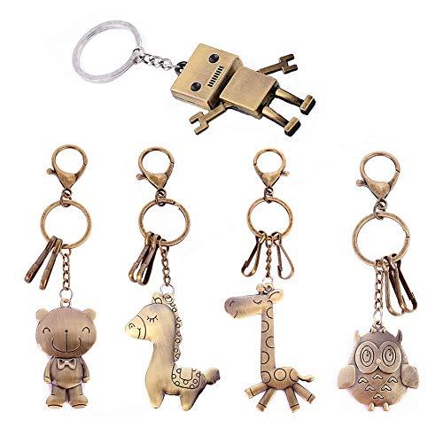 Schlüsselanhänger Tier Neuheit Set, Roboter Schlüsselanhänger Bär Giraffe Eule Pferd niedlich Schlüsselanhänger Geschenk Tasche Schlüsselanhänger Clip für Kinder Freunde und Familie (Set von 5 Stück)