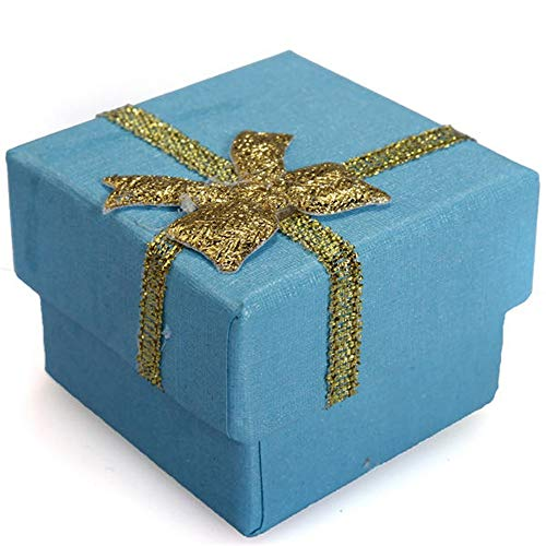 Caja de joyería Caja De Regalo De Papel Dura 24pcs del Bowknot Cubo Anillo De La Pendiente Recoger y organizar Joyas (Color : Blue, Size : 4x4x3cm)