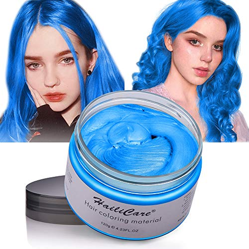 Hair Color Wax, Unisex Disposable Blue and Purple Hair Dye, Hairstyle Coloring Cream for Party, Cosplay, Halloween, Masquerade, Club, Temporary Hair Dye for Women and Men, 4.23oz