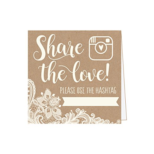 25 Kraft Lace Wedding Hashtag Signs, Rustic Vintage Table Top Place Cards or Photo Booth Oh Snap Sign, Quotes for Wedding, Wedding Reception or Ceremony Decor