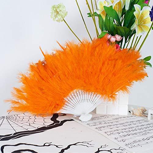 WYMGFD Abanico plegable de 26 x 45 cm, muchos colores de plumas, abanicos de danza plegable Burlesque para mujer, suministros de boda, fiesta, abanico