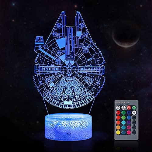 KNMY Star Wars luce notturna regalo per bambini, lampada 3D astronave base, lampada illusione con controllo touch e telecomando per uomini, donne, 16 colori cambiano, luce d umore