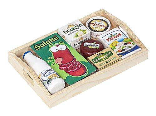 Polly Kaufladen Zubehör Set Käse, Milch auf Dem Holztablett   Kinder Spielzeug für den Kaufmannsladen   Kinderkaufladen Miniaturen