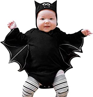 COM1950s Toddler Newborn Baby Boys Girls Halloween Cosplay Bat Long Sleeve Costume Romper Ear Hat Outfits Set