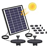 AISITIN 6.5W Solar Fountain Pump Built-in Double 1500mAh Battery Backup Solar Water Double Pump Floating Fountain with 12 Nozzles for Bird Bath Fish Tank Pond or Garden Decoration Solar Aerator Pump