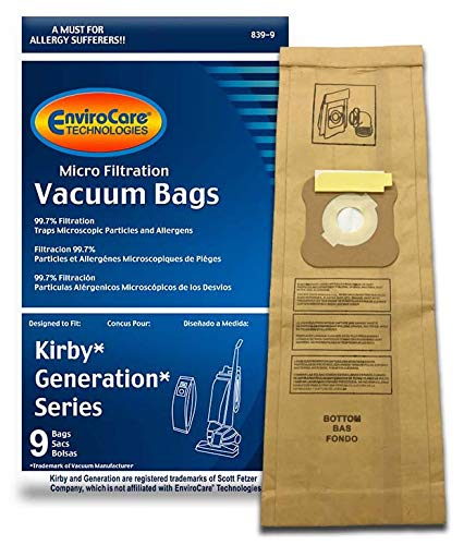 EnviroCare Replacement Micro Filtration Vacuum Cleaner Dust Bags for Kirby Generation 1,2,3,4,5,6 and Ultimate G 9 Pack, 9, Brown, 9 Count